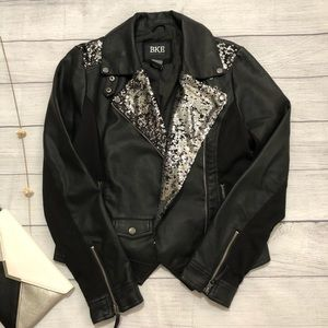 BKE Faux Leather Jacket with Sequins